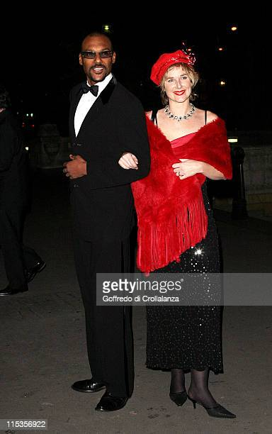 Colin Salmon and guest during 'Hats Off To Barbados' Ball at National History Museum in London Great Britain