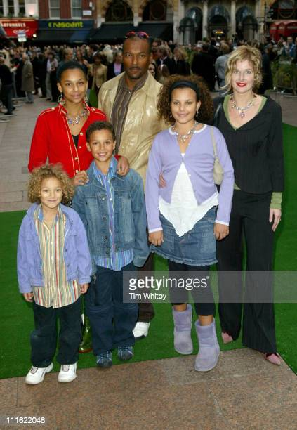Colin Salmon and his family during 'Wallace Gromit The Curse of the WereRabbit' London Charity Premiere at Odeon West End in London Great Britain