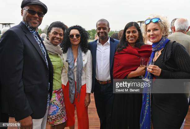 Colin Salmon Diane Henry Lepart Kanya King Adrian Lester Lolita Chakrabarti and Fiona Hawthorne attend the Audi Polo Challenge at Coworth Park on May...