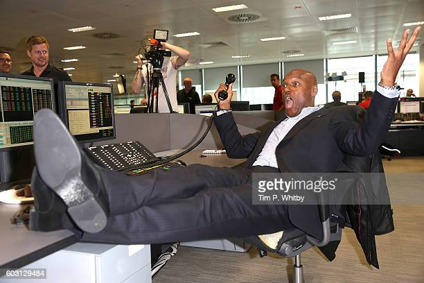 Colin Salmon making a trade at BGC Annual Global Charity Day at Canary Wharf on September 12 2016 in London England