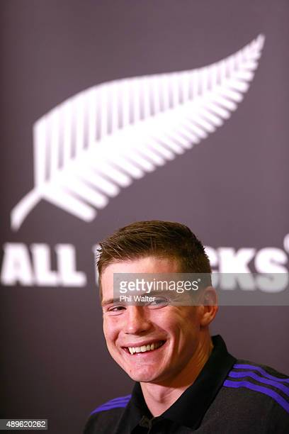 Colin Slade of the All Blacks speaks to the media before a New Zealand All Blacks Captain's Run at the Lensbury on September 23 2015 in London United...