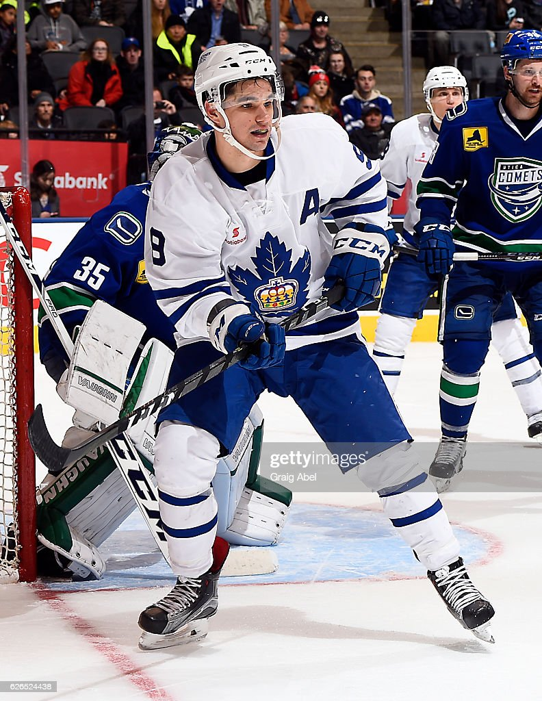 Colin Smith #9 of the Toronto Marlies watches the play against the Utica Comets during game action on November 26, 2016 at Air Canada Centre in Toronto, Ontario, Canada.