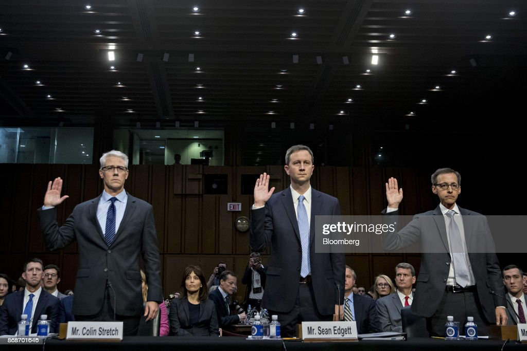 Colin Stretch, general counsel with Facebook Inc , from left, Sean