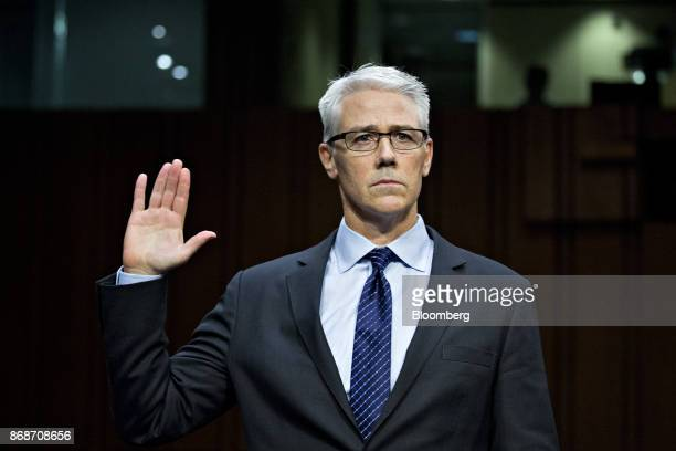 Colin Stretch general counsel with Facebook Inc swears in to a Senate Judiciary Crime and Terrorism Subcommittee hearing in Washington DC US on...