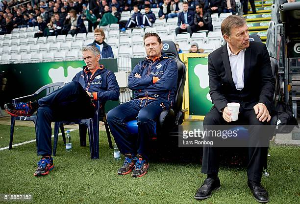 Colin Todd head coach of Randers FC and Thomas Thomasberg assistant coach of Randers FC looks on from the bench prior to the Danish Alka Superliga...