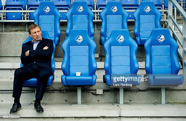 Colin Todd head coach of Randers FC looks on prior to the Danish Alka Superliga match between Randers FC and FC Vestsjalland at AutoC Park on April...