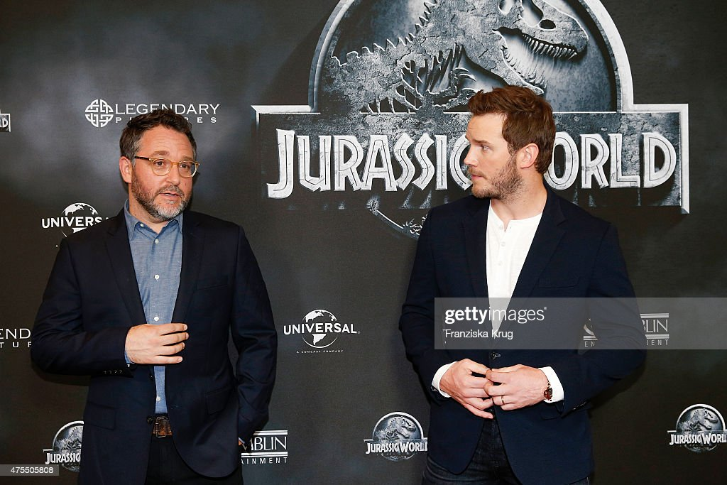 Colin Trevorrow and Chris Pratt attend the 'Jurassic World' Photocall on June 01, 2015 in Berlin, Germany.