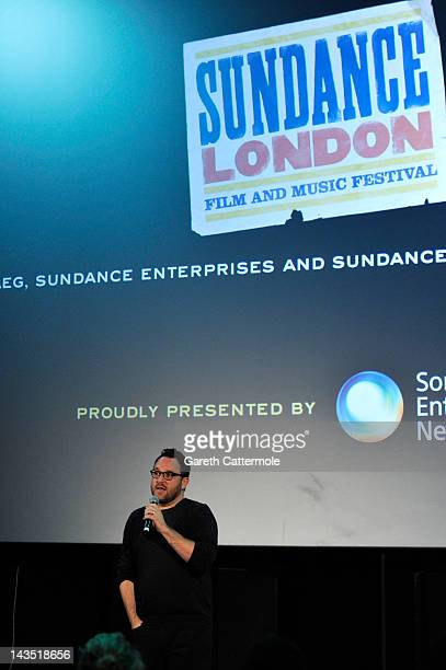 Colin Trevorrow speaks at the Safety Not Guaranteed QA during Sundance London at Cineworld 02 Arena on April 28 2012 in London England