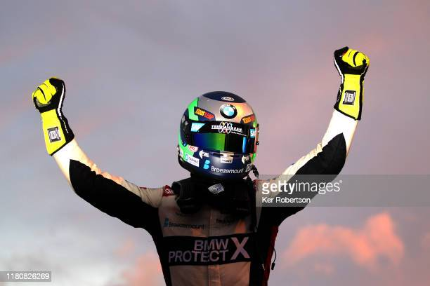 Colin Turkington of Team BMW celebrates after winning the 2019 British Touring Car Championship at Brands Hatch on October 13, 2019 in Longfield,...