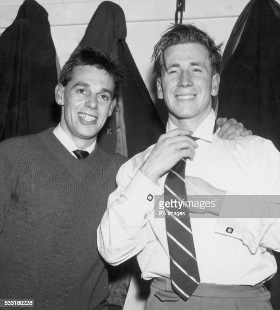 Colin Webster and Bobby Charlton in the Manchester United dressing room at Old Trafford