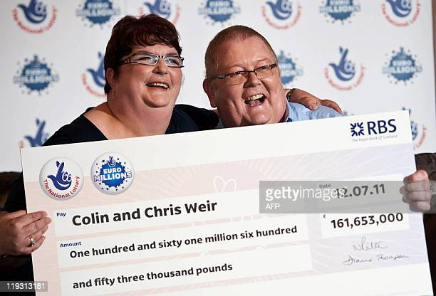 Colin Weir and his wife Chris pose for pictures during a photocall in Falkirk Scotland on July 15 after winning a record GBP161m in the EuroMillions...
