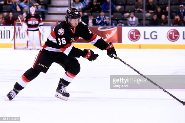 Colin White of the Belleville Senators controls the puck against the Toronto Marlies during AHL game action on November 25 2017 at Air Canada Centre...