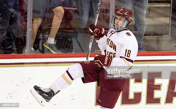 Colin White of the Boston College Eagles celebrates his goal against the Massachusetts Minutemen during NCAA hockey at Kelley Rink on November 3 2015...