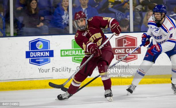 Colin White of the Boston College Eagles skates against the Massachusetts Lowell River Hawks during NCAA men's hockey at the Tsongas Center on...