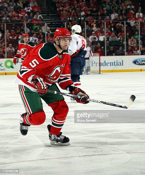 Colin White of the New Jersey Devils skates against the Washington Capitals at the Prudential Center on March 18 2011 in Newark New Jersey The...