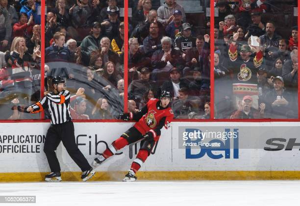 Colin White of the Ottawa Senators celebrates his second period goal against the Los Angeles Kings at Canadian Tire Centre on October 13 2018 in...