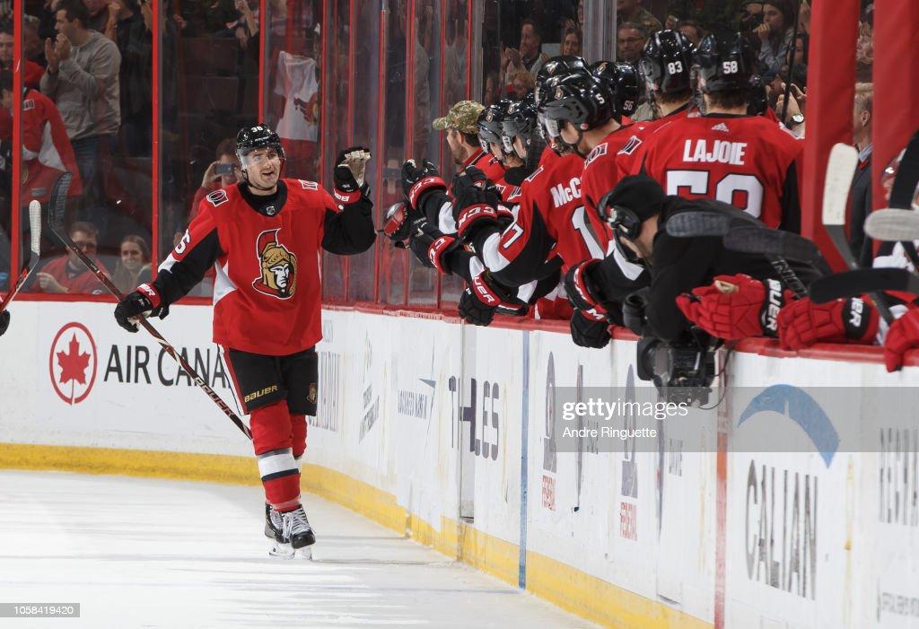 6a99d5a8e26 Colin White of the Ottawa Senators celebrates his second period goal ...