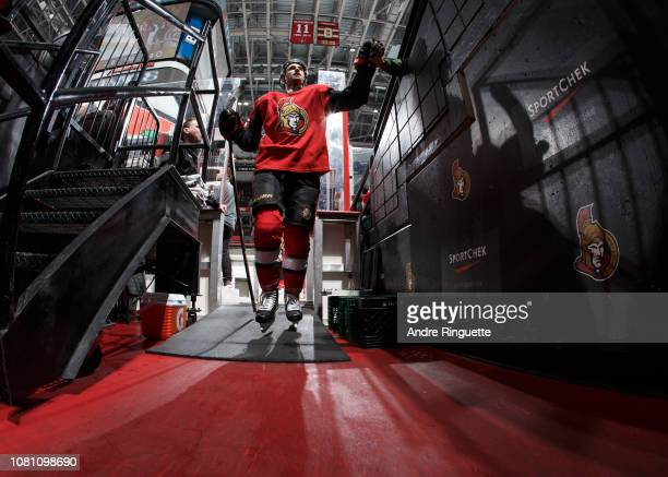 Colin White of the Ottawa Senators leaves the ice after warmup prior to a game against the Boston Bruins at Canadian Tire Centre on December 9 2018...