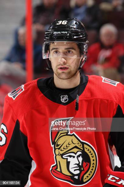 Colin White of the Ottawa Senators looks on during warmups prior to a game against the Chicago Blackhawks at Canadian Tire Centre on January 9 2018...