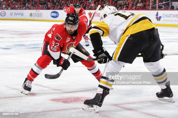 Colin White of the Ottawa Senators prepares for a faceoff against Nick Bonino of the Pittsburgh Penguins in Game Six of the Eastern Conference Final...