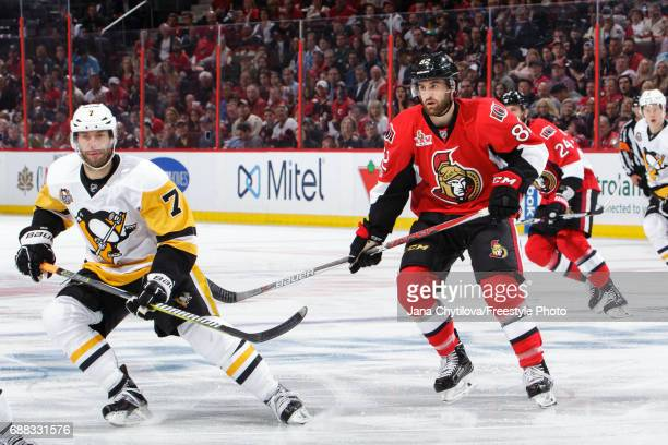 Colin White of the Ottawa Senators skates against Matt Cullen of the Pittsburgh Penguins in Game Six of the Eastern Conference Final during the 2017...