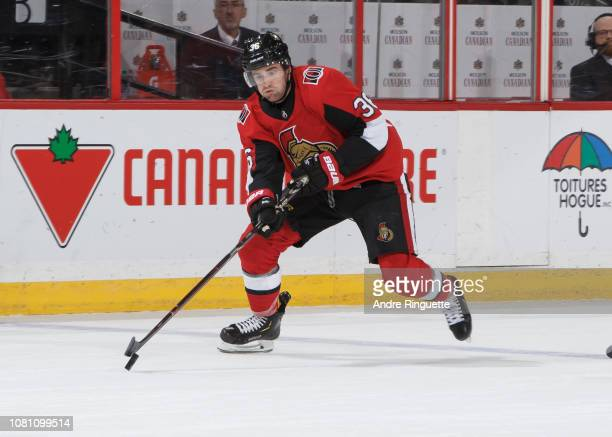 Colin White of the Ottawa Senators skates against the Boston Bruins at Canadian Tire Centre on December 9 2018 in Ottawa Ontario Canada