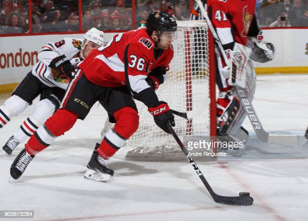 Colin White of the Ottawa Senators skates against the Chicago Blackhawks at Canadian Tire Centre on January 9 2018 in Ottawa Ontario Canada