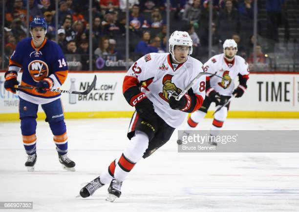 Colin White of the Ottawa Senators skates against the New York Islanders at the Barclays Center on April 9 2017 in the Brooklyn borough of New York...
