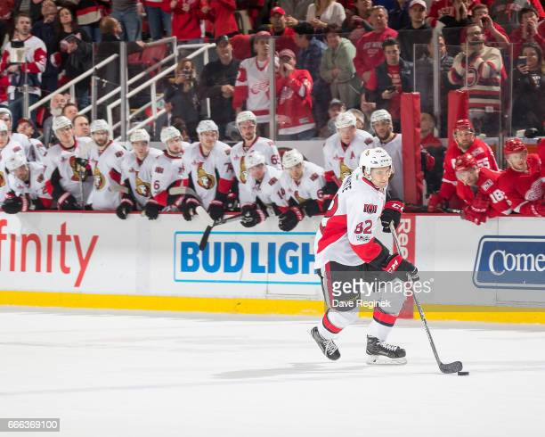 Colin White of the Ottawa Senators skates in for a shootout attempt against the Detroit Red Wings during an NHL game at Joe Louis Arena on April 3...