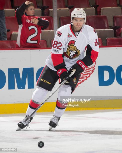 Colin White of the Ottawa Senators skates in warmups prior to the NHL game against the Detroit Red Wings at Joe Louis Arena on April 3 2017 in...