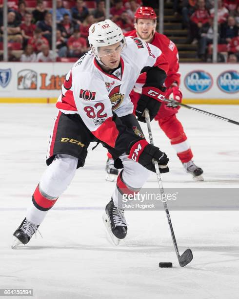 Colin White of the Ottawa Senators skates up ice with the puck during an NHL game against the Detroit Red Wings at Joe Louis Arena on April 3 2017 in...