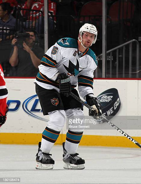 Colin White of the San Jose Sharks skates against the New Jersey Devils at the Prudential Center on October 21 2011 in Newark New Jersey