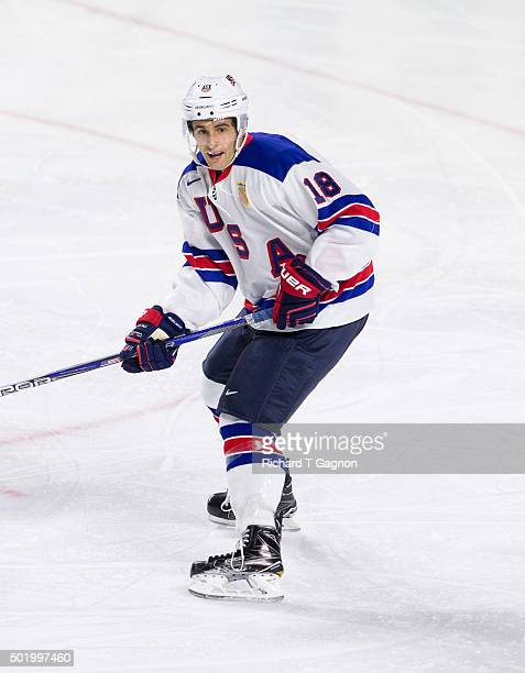 Colin White of the USA National Junior Team skates during NCAA exhibition hockey against the Massachusetts Minutemen at the Mullins Center on...