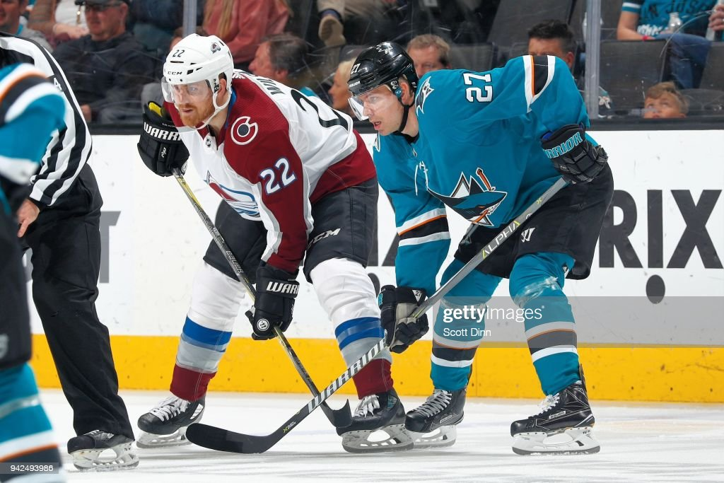 Colin Wilson #22 of the Colorado Avalanche and Joonas Donskoi #27 of the San Jose Sharks get ready at SAP Center on April 5, 2018 in San Jose, California.