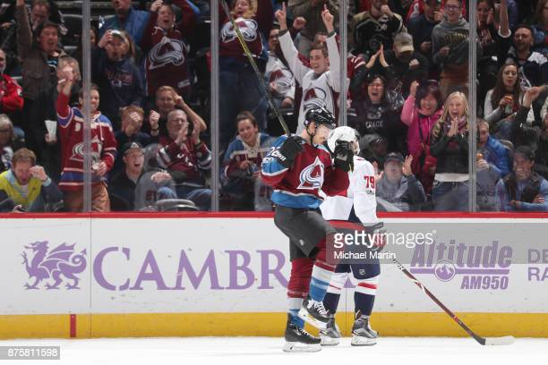 Colin Wilson of the Colorado Avalanche celebrates a goal against the Washington Capitals at the Pepsi Center on November 16 2017 in Denver Colorado...