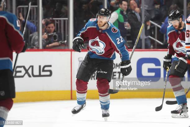 Colin Wilson of the Colorado Avalanche celebrates after scoring a goal against the Edmonton Oilers at the Pepsi Center on April 2 2019 in Denver...