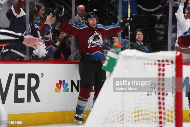 Colin Wilson of the Colorado Avalanche celebrates after scoring a goal against the San Jose Sharks in Game Four of the Western Conference Second...