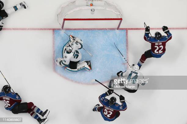 Colin Wilson of the Colorado Avalanche celebrates after scoring against goaltender Martin Jones of the San Jose Sharks in Game Four of the Western...