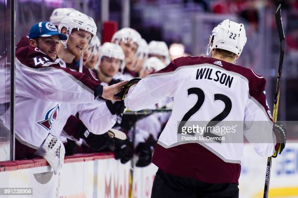 Colin Wilson of the Colorado Avalanche celebrates with his teammates after scoring a second period goal against the Washington Capitals at Capital...