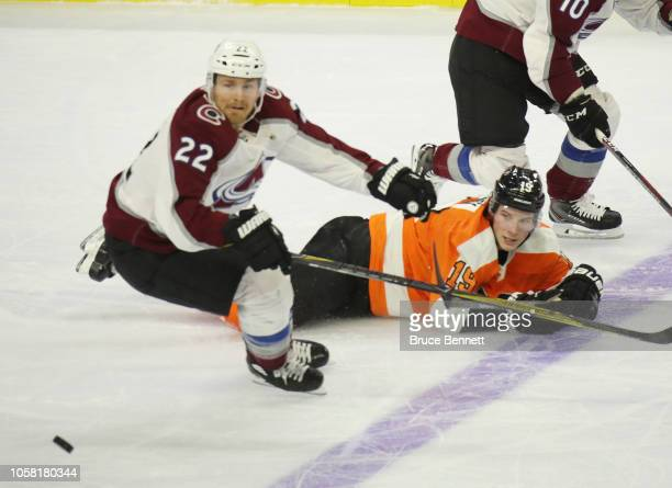 Colin Wilson of the Colorado Avalanche pulls away from Nolan Patrick of the Philadelphia Flyers at the Wells Fargo Center on October 22 2018 in...