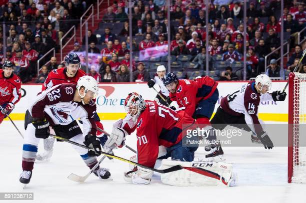 Colin Wilson of the Colorado Avalanche scores a second period goal against Braden Holtby of the Washington Capitals during a game at Capital One...