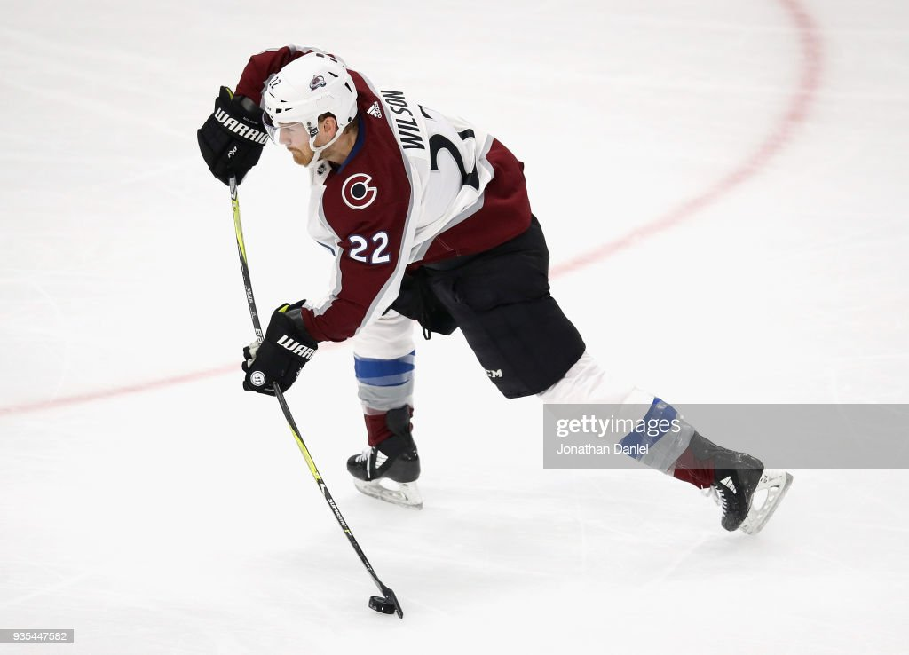 Colin Wilson #22 of the Colorado Avalanche shoots against the Chicago Blackhawks at the United Center on March 20, 2018 in Chicago, Illinois. The Avalanche defeated the Blackhawks 5-1.
