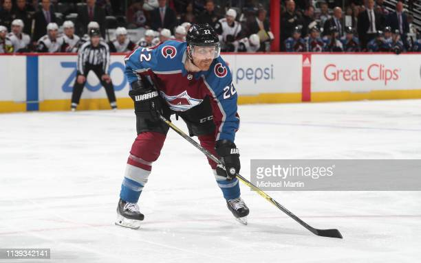 Colin Wilson of the Colorado Avalanche skates against the Arizona Coyotes at the Pepsi Center on March 29 2019 in Denver Colorado The Avalanche...