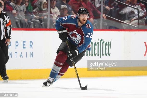Colin Wilson of the Colorado Avalanche skates against the Calgary Flames at the Pepsi Center on October 13 2018 in Denver Colorado The Flames...