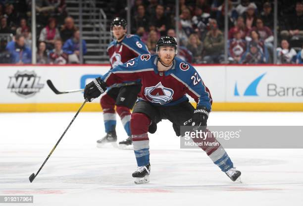 Colin Wilson of the Colorado Avalanche skates against the Montreal Canadiens at the Pepsi Center on February 14 2018 in Denver Colorado The Avalanche...