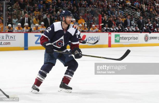 Colin Wilson of the Colorado Avalanche skates against the Nashville Predators at the Pepsi Center on January 21 2019 in Denver Colorado The Predators...