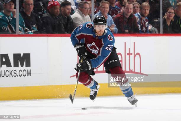 Colin Wilson of the Colorado Avalanche skates against the San Jose Sharks at the Pepsi Center on January 18 2018 in Denver Colorado