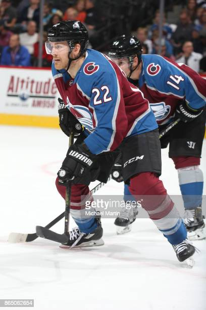 Colin Wilson of the Colorado Avalanche skates against the St Louis Blues at the Pepsi Center on October 19 2017 in Denver Colorado