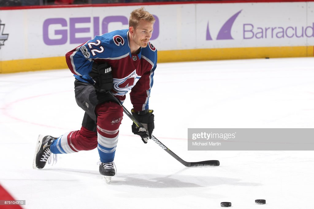Colin Wilson #22 of the Colorado Avalanche skates during warm ups, prior to the game against the Washington Capitals at the Pepsi Center on November 16, 2017 in Denver, Colorado.