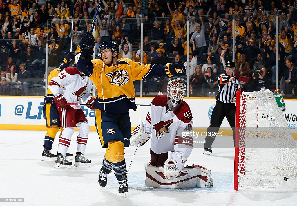 Colin Wilson #33 of the Nashville Predators celebrates a goal against Devan Dubnyk #40 of the Arizona Coyotes at Bridgestone Arena on October 21, 2014 in Nashville, Tennessee.